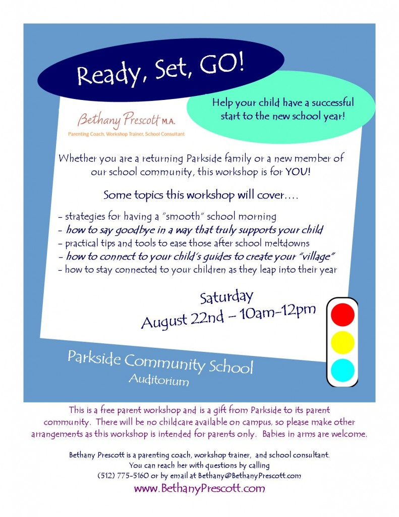 Ready, Set, GO! workshop flier Parkside